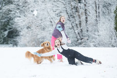 Snowball fight in winter Royalty Free Stock Photo