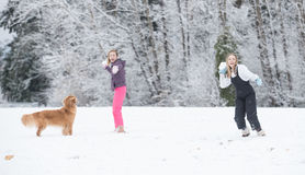 Snowball fight in winter Royalty Free Stock Photos