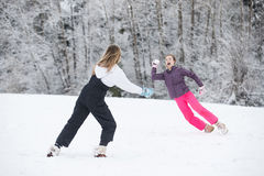Snowball fight in winter Royalty Free Stock Photography