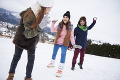 Happy family during winter time Royalty Free Stock Photo