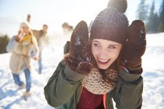 Snowball fight Stock Image