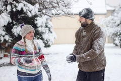 Snowball Fighting Royalty Free Stock Photo