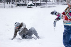 Snowball Fighting Royalty Free Stock Images