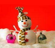 Snowball with gifts. The snowball carry gifts on a red background Stock Images