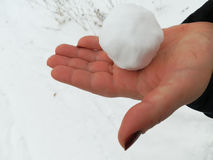 Snowball in hand Stock Photography