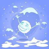 Snowball Happy Excited Jump Up Laughing Cartoon Stock Photography