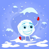 Snowball Laughing Red Gloves Cartoon Funny Royalty Free Stock Images
