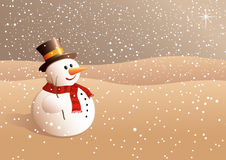 Snowball looking to the stars. Lovely vector illustration of happy snowball with hat and muffler looking to the stars Stock Image