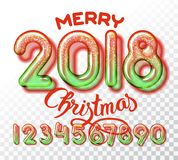2018 snowball numbers invitation. 2018 snowball Christmas invitation. Realistic glass font with trancparency and shadows. 3D bulb isolated color numbers Stock Photography