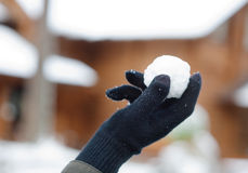 Snowball in palm Stock Photos