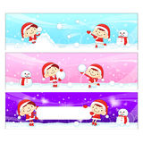 Snowball play Couples Snowman Mascot Royalty Free Stock Image