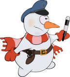 Snowball the policeman. Cartoon Royalty Free Stock Photography