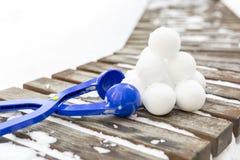 Snowball producenta narzędzie z setem gotowi snowballs Zdjęcie Royalty Free