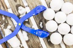 Snowball producenta narzędzie z setem gotowi snowballs Obrazy Stock