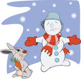 Snowball, rabbit and a carrot. Cartoon Royalty Free Stock Image