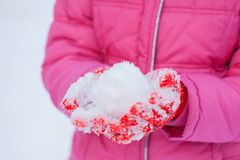 Snowball on Red. Royalty Free Stock Image
