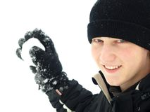 Snowball throwing royalty free stock photo
