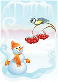 Snowball & titmouse (vector). Winter vacation. The titmouse sits on a mountain ash & smiling snowball Stock Photography