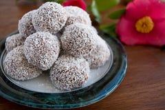 Snowball trufle czekoladowa i kokosowa polewa Zdjęcie Royalty Free
