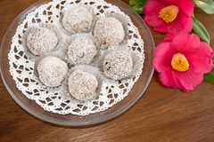 Snowball trufle czekoladowa i kokosowa polewa Obrazy Stock