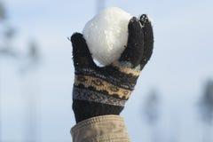 Snowball w ręce Obraz Stock