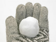 Snowball in winter glove. Snowball resting on gloved hand stock images
