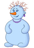 Snowball woman with hair. Christmas picture: snowball woman with a nose-carrot with a beads, ear rings and hair-branches Royalty Free Stock Photos