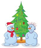 Snowballs and Christmas tree Stock Images