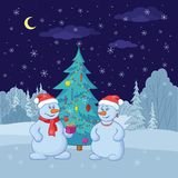 Snowballs and Christmas tree. Cartoon, snowmans with holiday gifts under the Christmas tree in winter forest Stock Photos