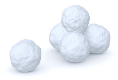 Snowballs heap and one snowball. Isolated on white background Stock Photos