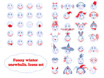 Snowballs icons set Royalty Free Stock Image
