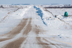 Snowbanks on the side of the road Stock Photos