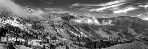 Snowbird ski resort panoramic. High alpine cottonwood ridge wasatch mountains utah snowbird ski resort royalty free stock image