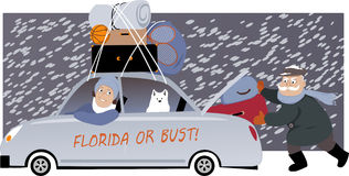 Snowbirds on the move. Senior couple with a dog packing a car under the snow and moving to Florida, EPS 8 vector illustration, no transparencies Stock Photography