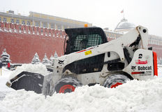 Snowblower clears snow-covered Red Square Stock Photo