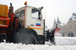 Snowblower clears snow-covered Red Square Royalty Free Stock Image