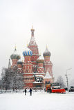 St. Basil Cathedral covered by the snow Stock Image