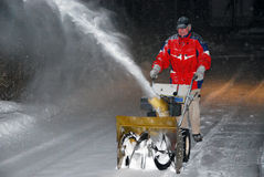 Snowblower night Stock Image