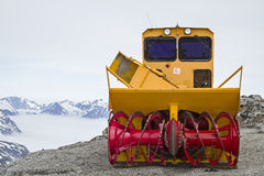 Snowblower. On a Norwegian mountain pass waiting for its use Royalty Free Stock Photo