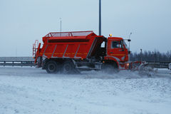 Snowblower removes the track Stock Photography