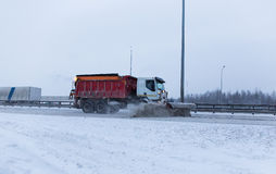 Snowblower removes the track Royalty Free Stock Image