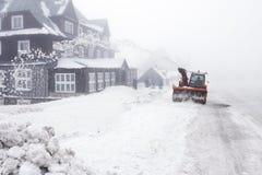 Snowblower on road. Czech Republic - mountains Krkonose - snowblower on road Royalty Free Stock Photos