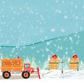 Snowblower on road. Vector Illustration Royalty Free Stock Photography