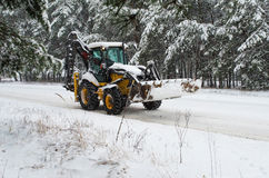 Snowblower tractor Royalty Free Stock Image