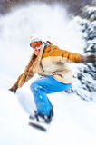 Snowboard. Young happy smiling man with snowboard. Winter sport stock photo
