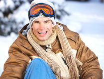 Snowboard. Young happy smiling man with snowboard. Winter sport stock photos