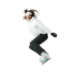 Snowboard. Young woman on snowboard isolated on white background royalty free stock photos