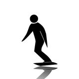 Snowboard. Profile black athletes practice Snowboard Stock Image