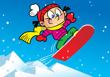 Snowboard. The illustration shows a funny girl who rides from mountain on a board for a snowboard. Illustration done in cartoon style Stock Photos