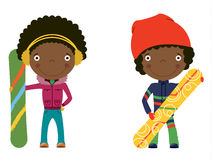 Snowboard african-american kids. Cute cheerful African-american kids with boards for snowboard. Color illustration Royalty Free Stock Images